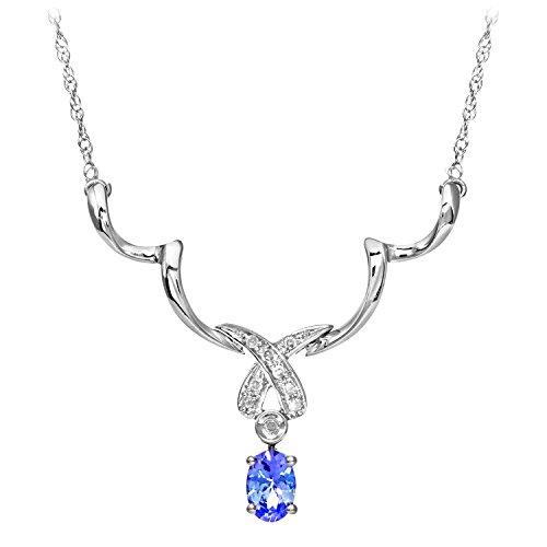 Revoni Bague en or blanc 9carats-Tanzanite et Diamant Kiss-Collier Femme
