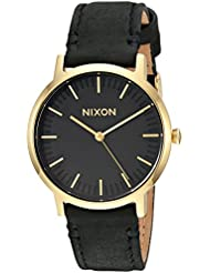 Nixon Mens Porter 35 Leather Quartz Stainless Steel Casual Watch, Color:Black (Model: A11991031)