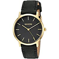 Nixon Men's 'Porter 35 Leather' Quartz Stainless Steel Casual Watch, Color:Black (Model: A11991031)