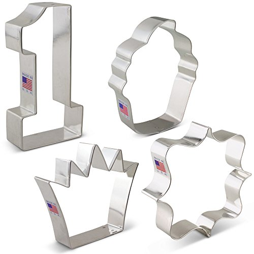 First /1st Birthday Cookie Cutter Set - 4 piece - Number One, Square Plaque, Cupcake & Crown - Ann Clark - Tin Plated Steel