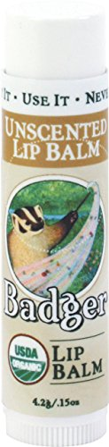 Badger Lip Balm (Badger UNSCENTED Classic Lip Balm USDA Organic With Beeswax & Aloe 4.2g)
