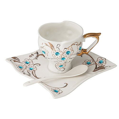 Coco Avatar Royal Coffee Cup For elegant women Coffee Cup Mug With Saucer And Spoon Decorated With Blue Diamond Hand Drawn Flowers Ivory China Cup 8 OZ ()