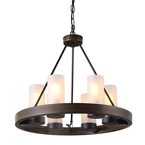 Eumyviv Circular Metal Chandelier Light with Frosted Glass Shade, Rustic French Country Chandelier Metal Pendant Lamp Industrial Edison Hanging Light 6 Lights, Brown (C0058) (Industrial Candle)