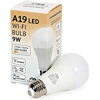 LED Smart Bulb - Alexa Certified Standard Universal A19 E26 Dimmable Lightbulb WiFi Enabled No Hub Required Color Tunable 2700K - 5000K