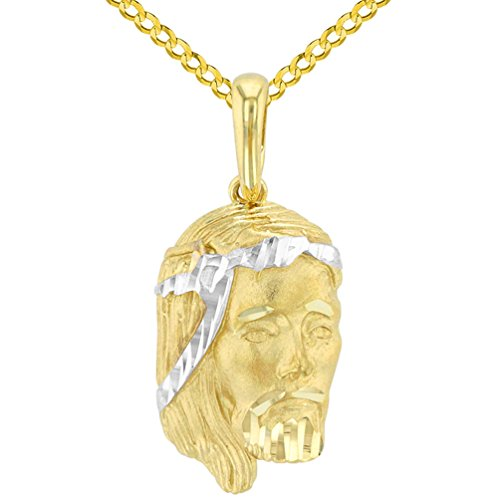 14K Yellow Gold Textured Face of Jesus Christ Pendant with Cuban Chain Necklace, - White Crown 14k Charm Gold