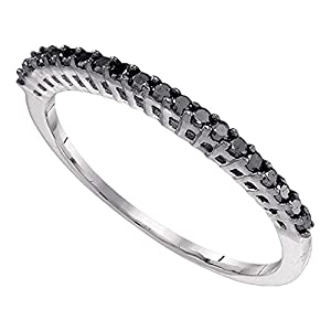 Black Diamond Wedding Band 10k White Gold Stackable Ring Anniversary Style Fashion Slim Delicate 1/4 ctw