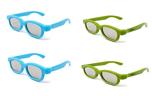 4 Pairs of Kids 3d Glasses 2 Blue 2 Green Universal Pairs of