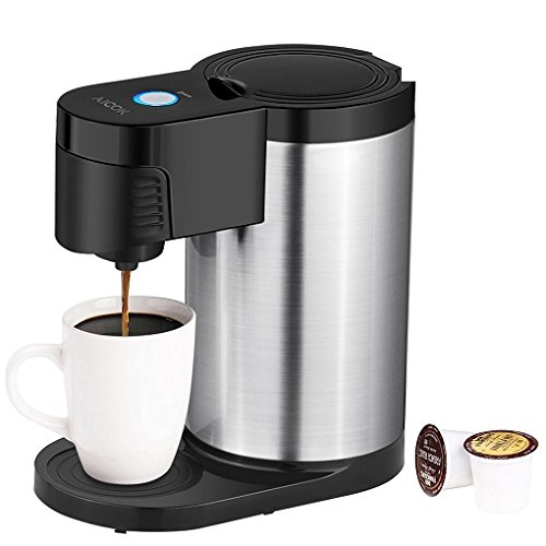Aicok Single Serve Coffee Maker K Cup, Stainless Steel Coffee Machine for Most Single Cup Pods Including K-Cup Pods, Quick Brew Technology by AICOK