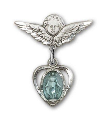 Icecarats Créatrice De Bijoux En Argent Sterling Coeur Bleu / Miraculeuse Charme Ange Pin Badge 7/8 X 3/4