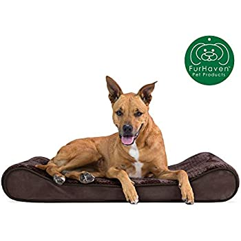 Furhaven Pet Dog Bed | Orthopedic Minky Plush & Velvet Ergonomic Luxe Lounger Cradle Mattress Contour Pet Bed w/ Removable Cover for Dogs & Cats, Espresso, Large
