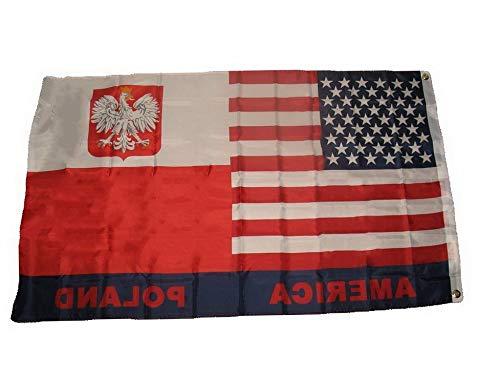 Mikash 3x5 USA Poland Flag 3x5 American Polska Friendship House Banner Brass Grommets | Model FLG - 3065 -