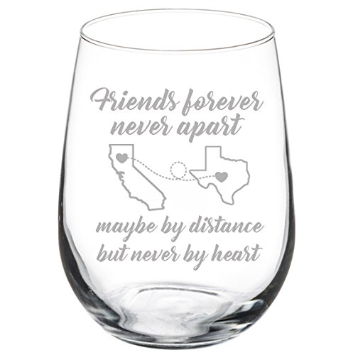 (Engraved Best Friend Wine Glass Friends Forever White Red Wine Custom Personalized Long Distance Friendship Gift (Stemless 17 oz))