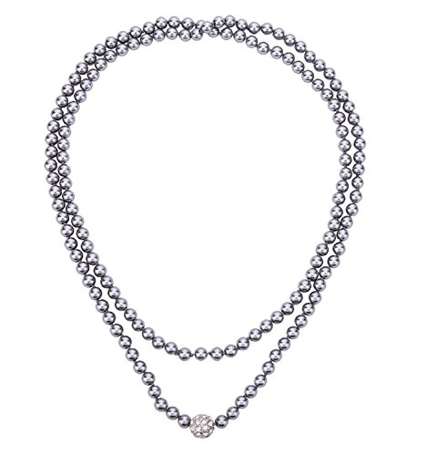 Grey Faux Pearl Necklace - 8