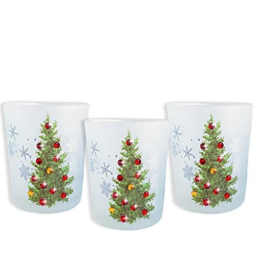 BANBERRY DESIGNS Christmas Tree Candle Holder - Set of 3 - Frosted Glass Holder Red Gold Jewels Tree Decorations ()