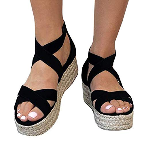(XMWEALTHY Women's Platform Wedges Heel Sandals Summer Strappy Open Toe Espadrilles Sandals Size 8.5 Black )