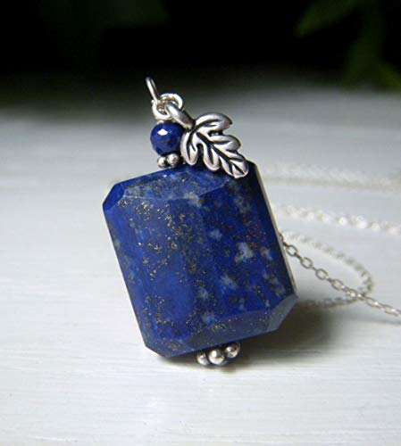 Genuine Lapis Necklace, Sterling Silver, Blue Gemstone Nugget, Leaf Charm Accent ()