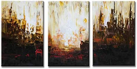 EVERFUN ART Hand Painted Canvas Wall Art Modern Shining Cityscape Abstract Oil Painting for Home Decoration Framed Ready to Hang 48 W x 24 H