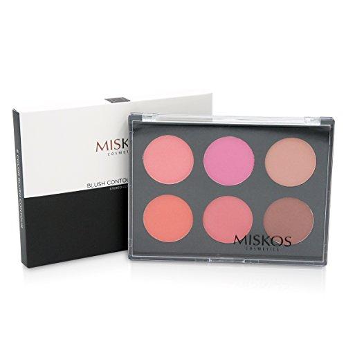 MISKOS 6 Colors Blush Contour Palette Pigmented Contour Blushes Glamorous Nature Long-lasting Blush Makeup Pallet Kit