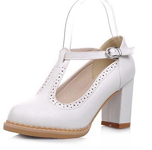 VogueZone009 Damen Weiches Material Rund Zehe Hoher Absatz Schnalle Rein Pumps Schuhe Weiß