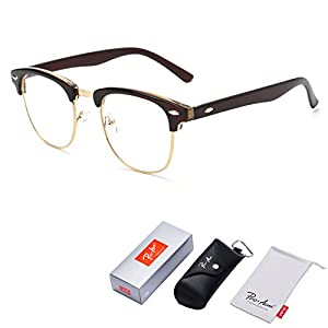 Pro Acme Vintage Inspired Semi-Rimless Clubmaster Clear Lens Glasses Frame Horn Rimmed (Brown)