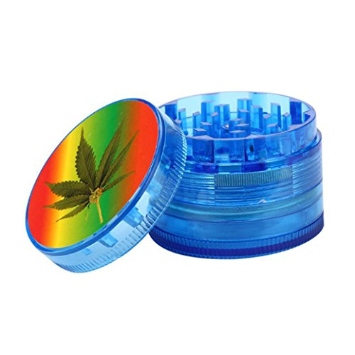(WensLTD 4-Layer Plastic Tobacco Herb Grinder Spice Crusher Grinder, Color Random (Blue))
