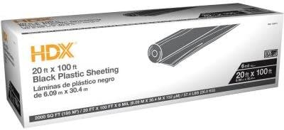Hdx 20 Ft X 100 Ft Black 6 Mil Plastic Sheeting Amazon Com