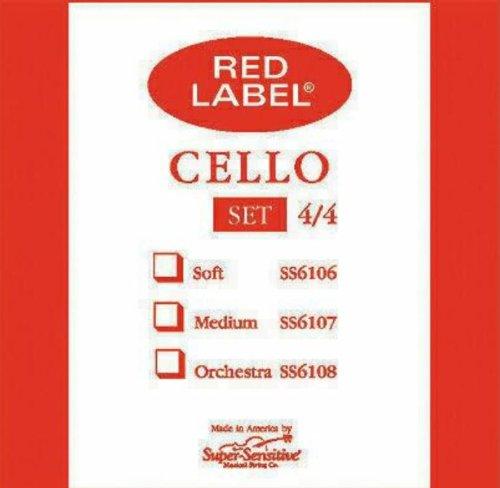 (Super Sensitive Steelcore 4/4 Cello Strings: Set)