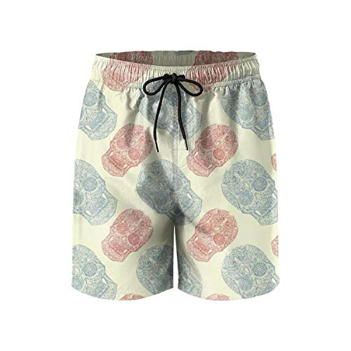 Unique Pink Skull Halloween Day of The Dead Makeup Loose Men's Swimming Trunks -