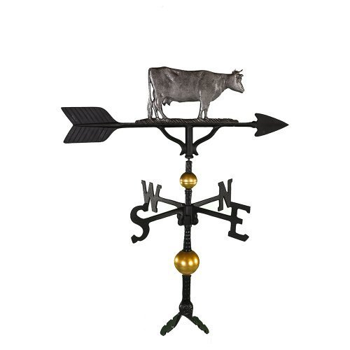 Montague Metal Products 32-Inch Deluxe Weathervane with Swedish Iron Cow Ornament by Montague Metal Products