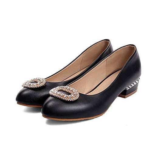 Schuhe Rund Schwarz Damen auf Ziehen VogueZone009 Pumps Eingelegt Absatz Zehe Niedriger Pqw1T