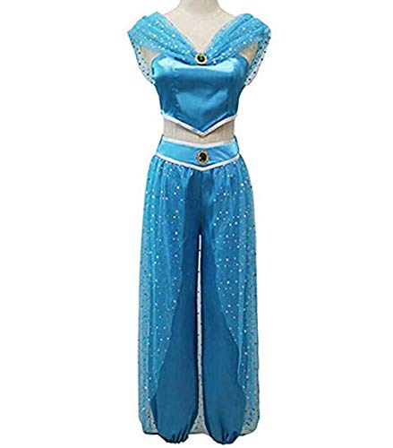 RUEWEY Womens Jasmine Princess Cosplay Belly Dance Dress