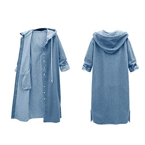 LISTHA Hooded Denim Jacket Women Long Jean Coat Hoodie Outwear Casual Overcoat by LISTHA (Image #1)