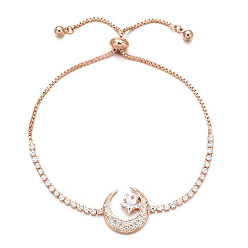 Yushitong Moon and Star Expandable Brass with Sparkling Cubic Zirconia Rose Gold Plated Adjustable Bracelets for Women and Girls (Rose Gold) (Star Moon Bracelet)