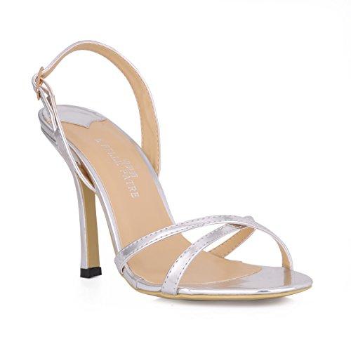 La réunion annuelle de la Nuit du banquet soir Sandales fille amende minimaliste avec de grandes chaussures à haut talon Silver DZnHzH