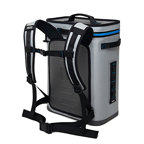 YETI Hopper Backflip 24 Soft Sided Cooler/Backpack, Fog Gray/Tahoe Blue 18060130007