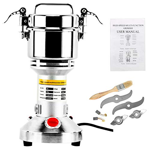 Homend High Speed 300g Electric Grain Mill Grinder Powder Machine Spice Herb Grinder 1300W 70-300 Mesh 28000RPM Stainless Steel Commercial Grade for Kitchen Herb Spice Pepper Coffee (300g)