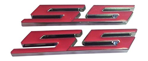 Muzzys (SET OF 2) PINK SS Chrome Super Sport Emblem Badge 3M Universal Stick On Sticker Trunk Fender Bumper Grill Grille