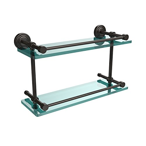 Allied Brass WP-2/16-GAL-ORB Waverly Place 16-Inch Double Glass Shelf with Gallery Rail, Oil Rubbed Bronze