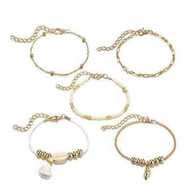 YouCY 5Pcs Conch Shell Beaded Bracelet Set Geometric Tassel Bracelet Fashion Accessories Jewelry Party Birthday Gift for Women Girl