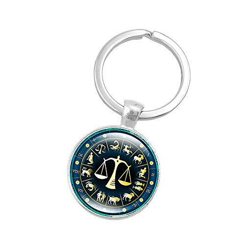 - Retro Personalized Zodiac Sign Key Chain Jewelry Horoscopes Star Signs Tag Key Rings Medallion Constellation Jewelry (Libra(9/23-10/23))