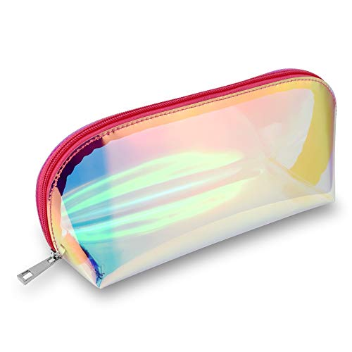 Makeup bag, Packism 2 Pack Holographic Travel Cosmetic Bag Waterproof Toiletry Bag Multipurpose Cosmetic Pouch Organizer for Women, Pink + Purple