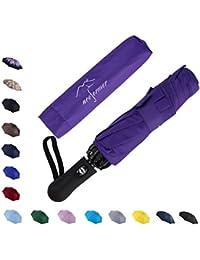 Automatic Inverted Folding Umbrella - Compact Lightweight Windproof Travel Reverse Car Umbrellas for Men Women Multiple Colors