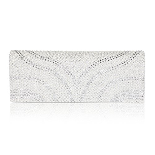 Flap Over Bag Clutch Patterned Dazzling Pearl Womens White Damara Evening CgxqOvpO