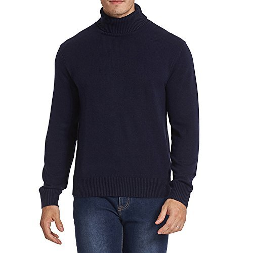 Kallspin Men's Merino Wool Blend Relax Fit Turtle Neck Sweater Pullover (L, Navy Blue) ()