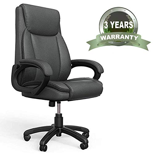 Mysuntown Executive Office Chair, PU Leather Swivel Managerial Task Chair, Ergonomic High Back Home Office & Desk Chair with Lumbar Support(260lb)