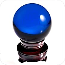 Amlong Crystal Blue Crystal Ball 50mm (2 in.) Including Wooden Stand and Gift Package
