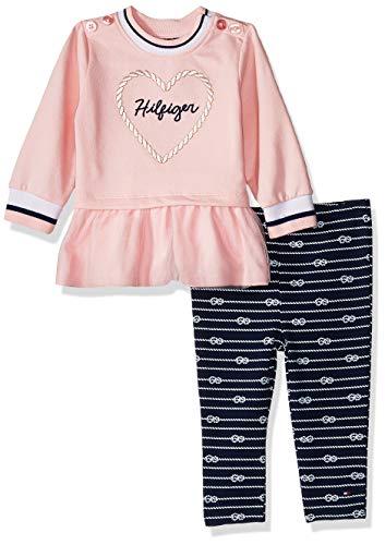 Tommy Hilfiger Baby Girls 2 Pieces Legging Set, Crystal Rose/Blue Print 12M