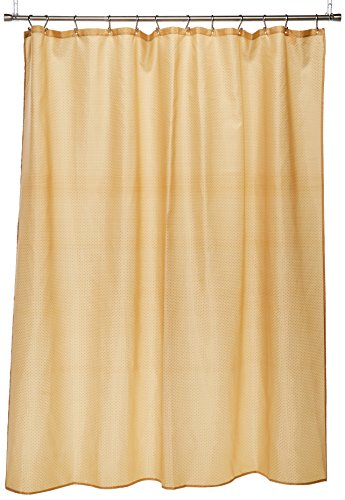 Carnation Home Fashions Lauren Dobby 70-Inch by 72-Inch Fabric Shower Curtain, Gold