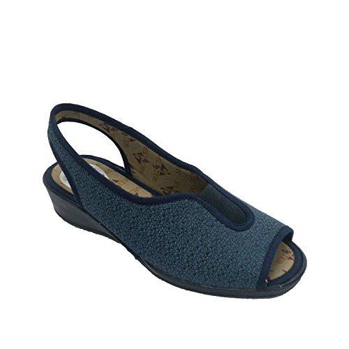Zapatilla mujer estar en casa abierta punta y talón goma empeine Muñoz y Tercero en azul marino