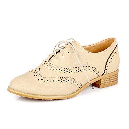 Dotacoko Kvinners Perforert Blonder-up Wingtip Behagelig Skinn Flat Oxfords  Vintage Oxford Sko Beige